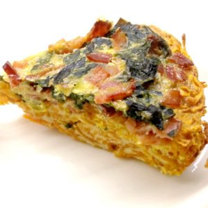 Spinach bacon and sweet potato pie - slice